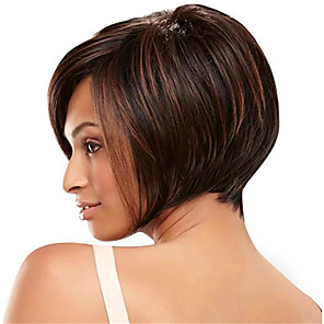 cheap Synthetic Trendy Wigs-Synthetic Wig kinky Straight Asymmetrical Wig Short Light Brown Synthetic Hair 12 inch Women's Simple Life Classic Light Brown