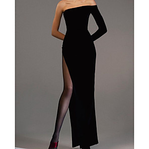 cheap Evening Dresses-Sheath / Column Elegant Black Engagement Formal Evening Dress Off Shoulder Long Sleeve Floor Length Velvet with Sleek Split 2020
