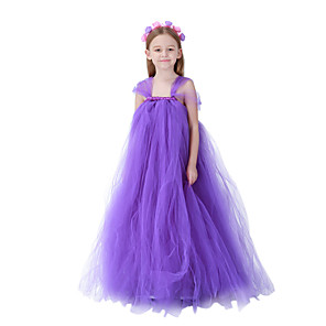 cheap Movie & TV Theme Costumes-Princess Dress Flower Girl Dress Girls' Movie Cosplay A-Line Slip Purple Dress Children's Day Masquerade Tulle Cotton