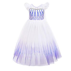 cheap Movie & TV Theme Costumes-Frozen Princess Dress Girls' Movie Cosplay Halloween Christmas White Dress Christmas Halloween / Cap Sleeve