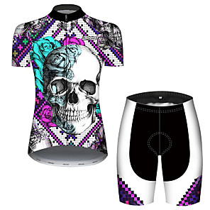 cheap Cycling Jersey & Shorts / Pants Sets-21Grams Women's Short Sleeve Cycling Jersey with Shorts Black / White Skull Floral Botanical Tetris Bike Clothing Suit Breathable 3D Pad Quick Dry Ultraviolet Resistant Reflective Strips Sports Skull