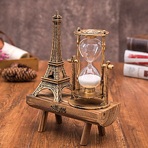 cheap Art Crafts-Creative retro iron tower hourglass ornaments simple modern home study wooden swing seat hourglass ornaments 20*14.5cm