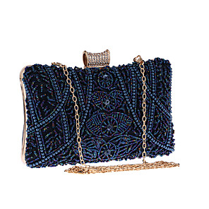 cheap Clutches & Evening Bags-Women's Chain Polyester Evening Bag Solid Color Almond / Blue / Silver