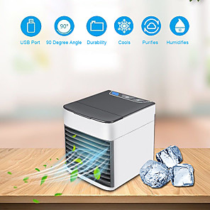 cheap Humidifiers-Mini Portable Air Conditioner 7 Colors Light Air Conditioning Humidifier Purifier USB Air Cooler Fan with Water Tanks for Home