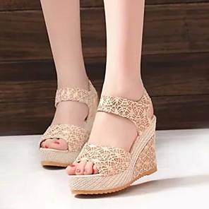 cheap Women's Sandals-Women's Sandals Wedge Sandals Summer Wedge Heel Open Toe Daily PU Black / Beige