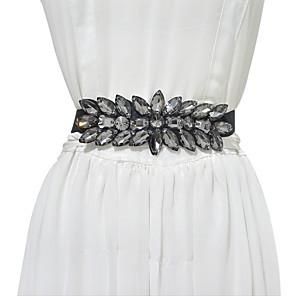 cheap Party Sashes-Metalic / Elastic Wedding / Party / Evening Sash With Belt / Crystals / Rhinestones Women's Sashes