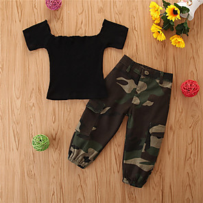 cheap Women's Sandals-Toddler Girls' Basic Casual Print Short Sleeve Regular Regular Clothing Set Black