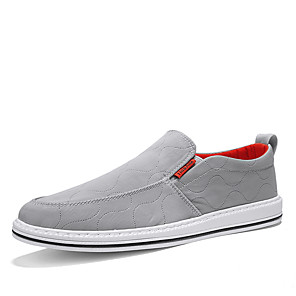 cheap Men's Slip-ons & Loafers-Men's Spring / Summer Casual Daily Outdoor Loafers & Slip-Ons Canvas Breathable Non-slipping Wear Proof Black / Gray