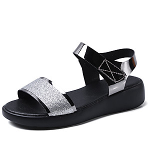 cheap Women's Sandals-Women's Sandals Summer Flat Heel Open Toe Daily Outdoor Leather Black / Gold / Silver