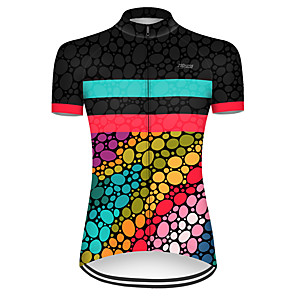 cheap Cycling Jerseys-21Grams Women's Short Sleeve Cycling Jersey Nylon Polyester Black / Red Polka Dot Gradient Bike Jersey Top Mountain Bike MTB Road Bike Cycling Breathable Quick Dry Ultraviolet Resistant Sports
