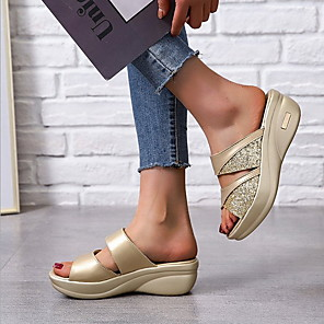 cheap Women's Sandals-Women's Sandals Wedge Sandals Summer Wedge Heel Round Toe Daily EVA(ethylene-vinyl acetate copolymer) / PU Gold / Silver