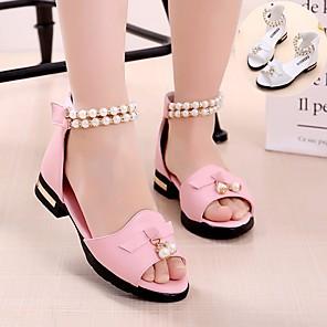 cheap Kids' Sandals-Girls' Comfort PU Sandals Big Kids(7years +) White / Pink Spring