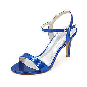 cheap Wedding Shoes-Women's Wedding Shoes Spring / Summer Stiletto Heel Open Toe Minimalism Wedding Party & Evening Solid Colored Patent Leather Black / Gold / Blue