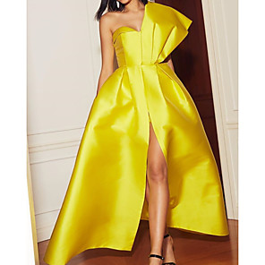 cheap Ballroom Dancewear-A-Line Elegant Engagement Formal Evening Dress One Shoulder Sleeveless Floor Length Satin with Pleats Split 2020