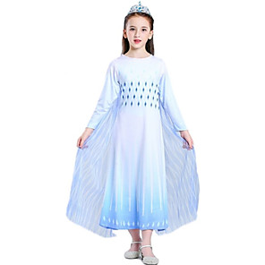 cheap Movie & TV Theme Costumes-Princess Elsa Dress Outfits Flower Girl Dress Girls' Movie Cosplay A-Line Slip White Dress Children's Day Masquerade Polyester