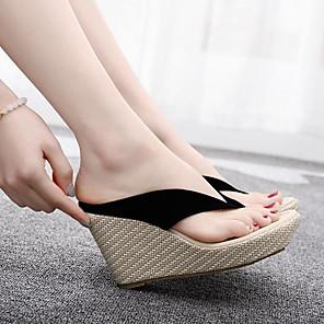cheap Women's Sandals-Women's Sandals Wedge Sandals Summer Wedge Heel Round Toe Daily PVC White / Black / Yellow