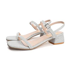 cheap Women's Sandals-Women's Sandals Summer Block Heel Open Toe Sweet Daily Outdoor Polyester Gold / Silver