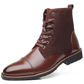 cheap Women's Boots-Men's Fall & Winter Daily Boots Leather Mid-Calf Boots Brown / Black