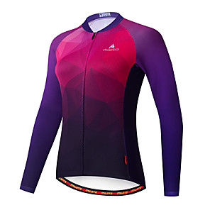 cheap Cycling Jerseys-Miloto Women's Long Sleeve Cycling Jersey Purple Bike Jersey Top Mountain Bike MTB Road Bike Cycling Breathable Quick Dry Sports Clothing Apparel / Stretchy