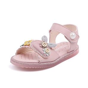 cheap Kids' Sandals-Girls' Sandals Comfort PU Toddler(9m-4ys) / Little Kids(4-7ys) Walking Shoes Flower Pink / Beige Spring / Summer / Rubber