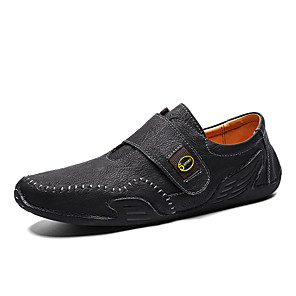 cheap Men's Slip-ons & Loafers-Men's Spring & Summer Casual Daily Loafers & Slip-Ons PU Non-slipping Black / Khaki / Brown