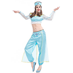 cheap Movie & TV Theme Costumes-Princess Jasmine Pants Hat Outfits Women's Movie Cosplay Halloween Light Blue Top Pants Hat Halloween Carnival Masquerade Polyster