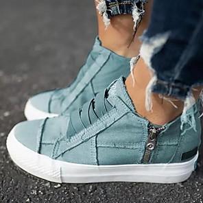 cheap Women's Sandals-Women's Flats Spring / Summer Flat Heel Round Toe Daily Canvas Light Brown / Dark Brown / White