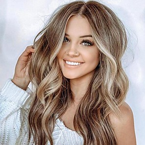 cheap Human Hair Wigs-Synthetic Wig Matte Body Wave Middle Part Wig Blonde Long Light golden Synthetic Hair 65 inch Women's Highlighted / Balayage Hair Dark Roots Middle Part Blonde Brown
