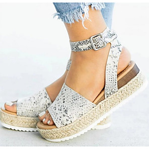 cheap Women's Sandals-Women's Sandals Flat Sandals Summer Flat Heel Peep Toe Daily PU Light Brown / White / Black / Animal Print