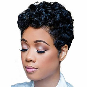 cheap Synthetic Trendy Wigs-Synthetic Wig Matte Deep Curly Short Bob Wig Short Natural Black Synthetic Hair 6 inch Women's Exquisite curling Fluffy Black