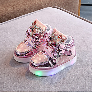 cheap Kids' LED Shoes-Girls' Sneakers LED / LED Shoes PU LED Shoes Little Kids(4-7ys) / Big Kids(7years +) Walking Shoes Flower / LED / Luminous Pink / Gold / Silver Spring / Summer / Rubber