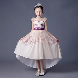cheap Movie & TV Theme Costumes-Princess Anna Dress Flower Girl Dress Girls' Movie Cosplay A-Line Slip Beige Dress Children's Day Masquerade Tulle Polyester