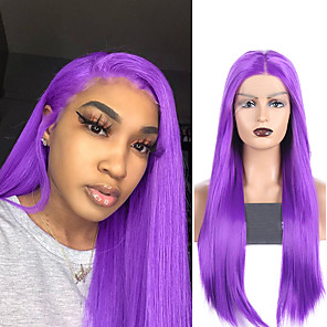 cheap Synthetic Lace Wigs-Synthetic Lace Front Wig Straight Middle Part Lace Front Wig Long Purple Synthetic Hair 18-26 inch Women's Soft Adjustable Party Purple