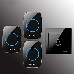 cheap Doorbell Systems-CACAZI Wireless Doorbell Waterproof Door Bell Transmitter Home Calling Bell 300M Remote LED Button 36 Chime 4 Volume Door Bell