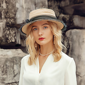 cheap Party Hats-Elegant Natural Fiber Hats with Floral 1pc Casual / Daily Wear Headpiece