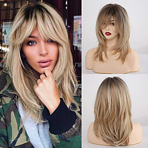 cheap Synthetic Trendy Wigs-Synthetic Wig Matte kinky Straight Neat Bang Wig Long Light Blonde Synthetic Hair 20 inch Women's Adorable Blonde