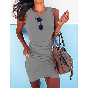 cheap Women's Boots-Women's Bodycon Dress - Sleeveless Solid Colored Spring & Summer V Neck Street chic Going out Slim 2020 Black Blue Fuchsia Green Gray S M L XL XXL