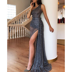 cheap Bridesmaid Dresses-Sheath / Column Sparkle Grey Party Wear Formal Evening Dress One Shoulder Sleeveless Sweep / Brush Train Sequined with Sequin Split 2020