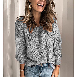 cheap Women's Heels-Women's Solid Colored Long Sleeve Pullover Sweater Jumper, Round Neck Blue / Blushing Pink / Khaki S / M / L