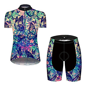 cheap Cycling Jersey & Shorts / Pants Sets-21Grams Women's Short Sleeve Cycling Jersey with Shorts Black / Blue Tie Dye Butterfly Gradient Bike Clothing Suit Breathable 3D Pad Quick Dry Ultraviolet Resistant Reflective Strips Sports Tie Dye