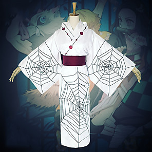 cheap Anime Costumes-Inspired by Demon Slayer: Kimetsu no Yaiba Anime Cosplay Costumes Japanese Cosplay Suits Top Kimono Coat Sash / Ribbon For Women's