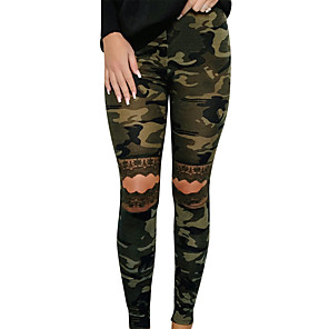 cheap Necklaces-Women's Basic Daily Slim Chinos Pants Print Cut Out High Waist Army Green S M L