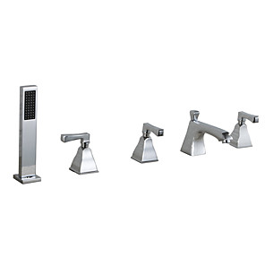 cheap Bathtub Faucets-Bathtub Faucet - Contemporary Chrome Tub And Shower Ceramic Valve Bath Shower Mixer Taps