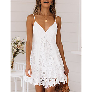 cheap Bathroom Gadgets-Women's Strap Dress Short Mini Dress - Sleeveless Summer V Neck Sexy Holiday Lace 2020 White S M L XL XXL 3XL
