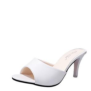cheap Artificial Plants-Women's Slippers & Flip-Flops Summer Stiletto Heel Open Toe Daily PU White / Black