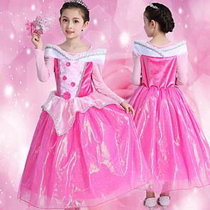 cheap Movie & TV Theme Costumes-Princess Sleeping beauty Aurora Dress Flower Girl Dress Girls' Movie Cosplay A-Line Slip Pink Dress Children's Day Masquerade Tulle Polyester