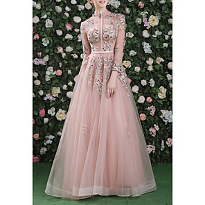cheap Prom Dresses-A-Line Cut Out Floral Prom Formal Evening Dress High Neck Long Sleeve Floor Length Organza with Embroidery 2020