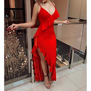 cheap Wedding Dresses-Sheath / Column Sexy Red Engagement Formal Evening Dress V Neck Sleeveless Asymmetrical Chiffon with Ruffles 2020
