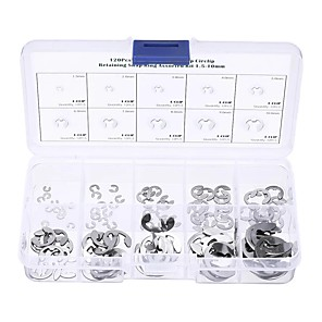 cheap Fuel Systems-120Pcs 304 Stainless E-Clip Retaining Snap Ring E-type Circlip Assortment Kit 1.5-10mm