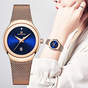 cheap Quartz Watches-NAVIFORCE Women's Quartz Watches Fashion Black Silver Gold Stainless Steel Japanese Quartz Gold Blue Silver Water Resistant / Waterproof Calendar / date / day Casual Watch 30 m 1 pc Analog One Year